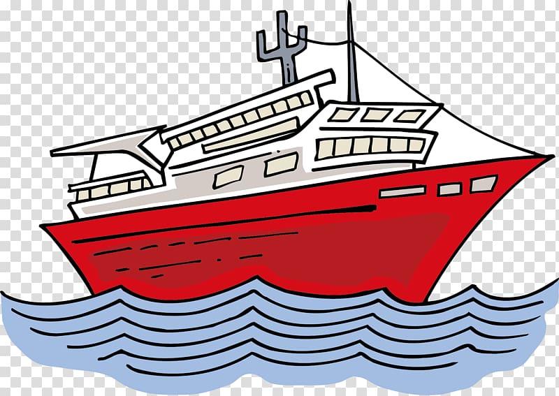 Cargo ship, Cartoon ship transparent background PNG clipart.