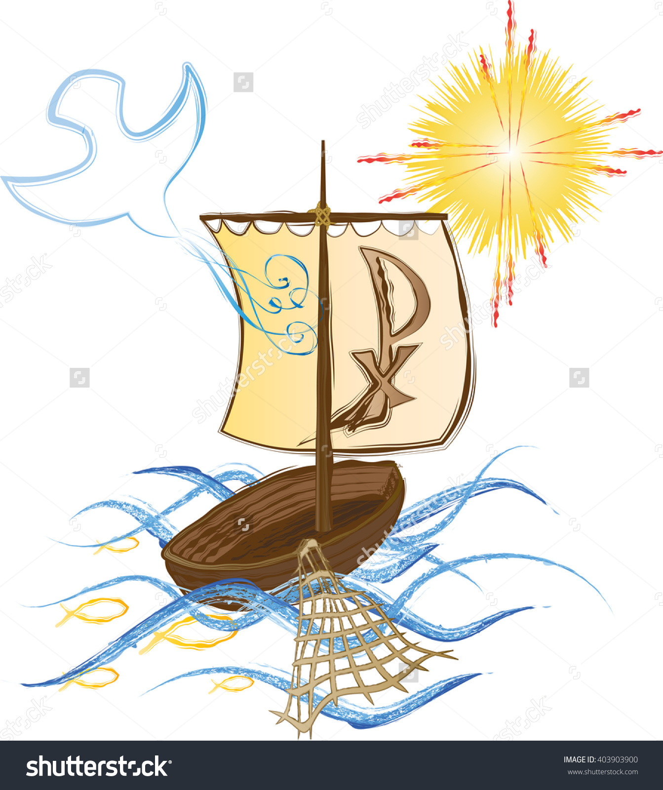 Boat On Sea Symbol Christian Church Stock Vector 403903900.