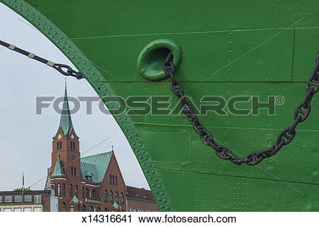 Stock Photography of Bow of big sail ship with church x14316641.