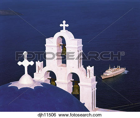 Stock Images of Cruise Ship and Church Dome and Bells at Santorini.