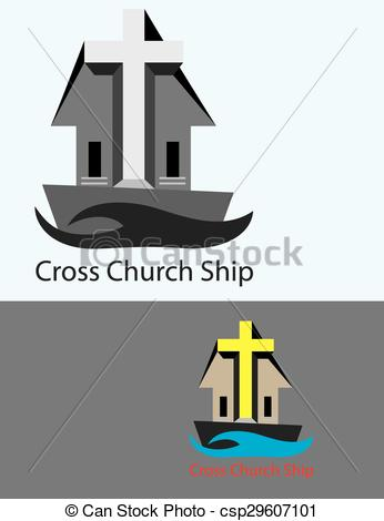Vector Clipart of Cross Church Ship, art vector design csp29607101.