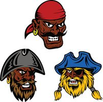 Pirate Ship Crew With Black Captain and Sailors stock.