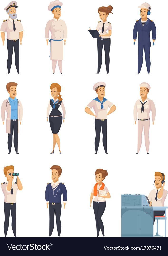 Yacht ship cartoon characters set.