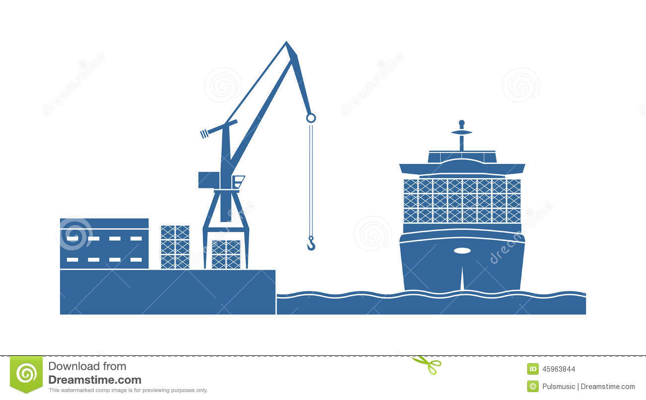 Container Ship In The Port Stock Vector.