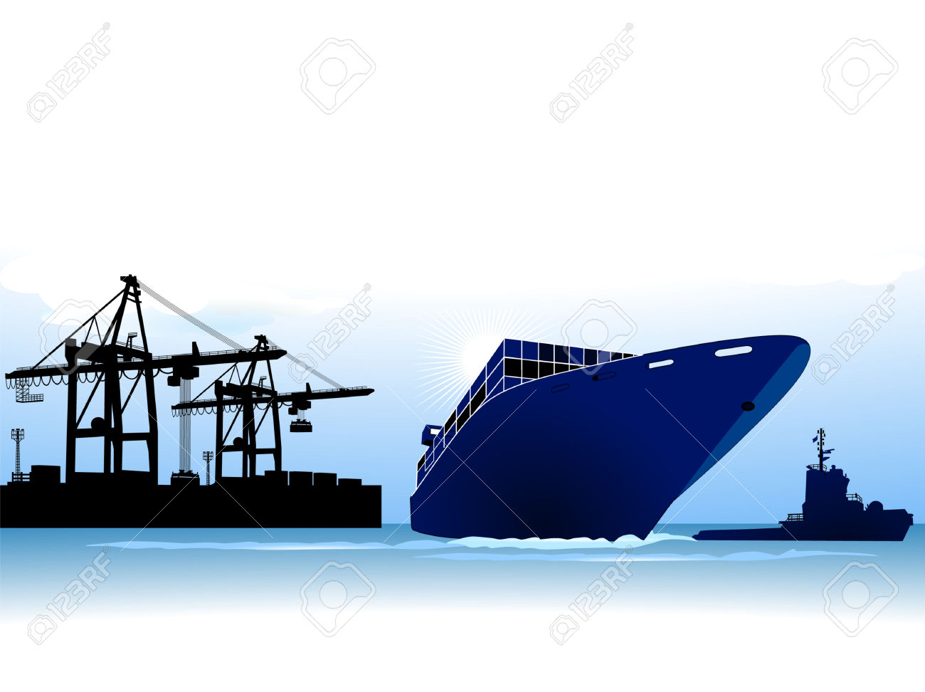 Container Ship To Call At A Port Royalty Free Cliparts, Vectors.