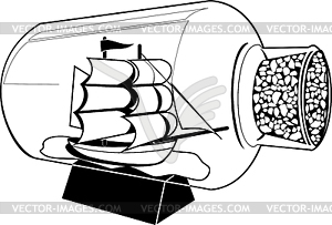Ship In A Bottle Clipart.