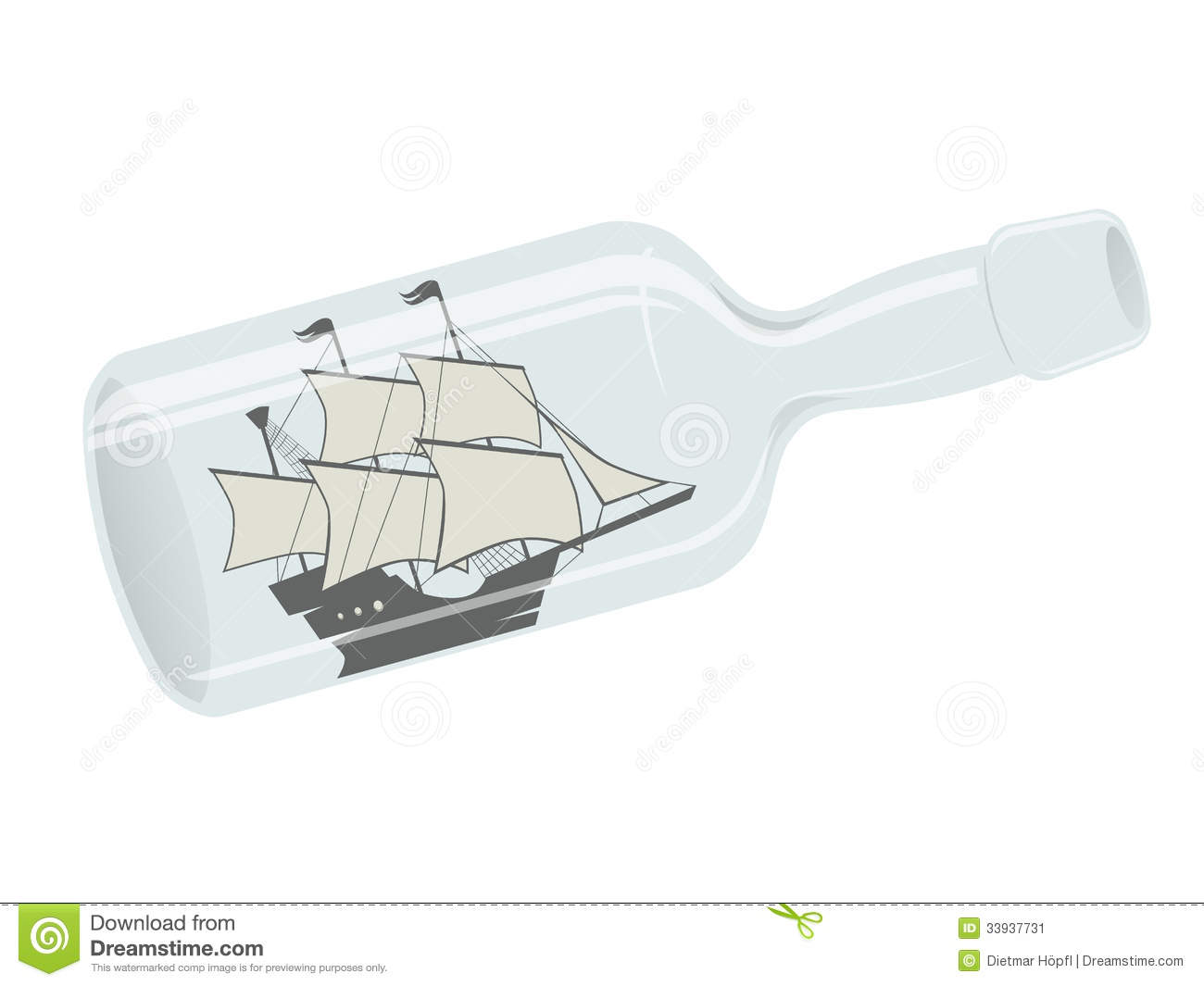 Sailing Ship In A Bottle Stock Image.