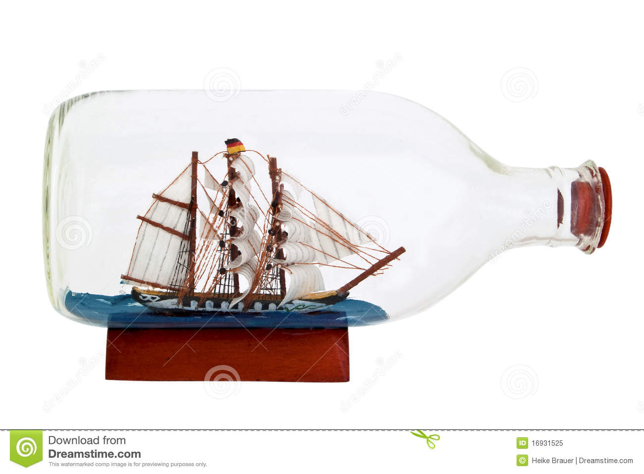 Handmade Ship In A Bottle Stock Photo.