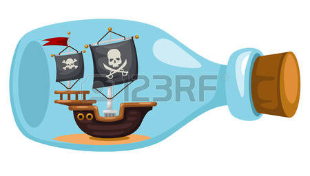 1,370 Ship In A Bottle Stock Vector Illustration And Royalty Free.
