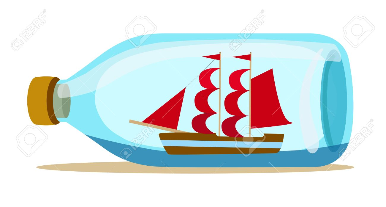 Ship in a bottle clipart #1