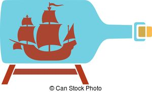 Ship in a bottle clipart #12