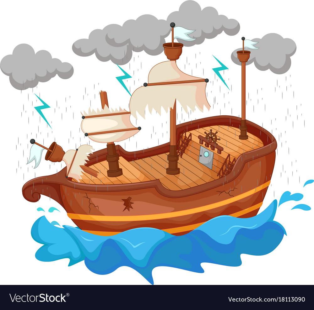 Broken yacht cartoon by storm.