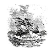 Ship IN A Storm Stock Vector.