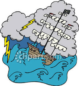 Boat In Storm Clipart.