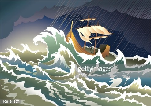 Ship sinking in the storm Clipart Image.