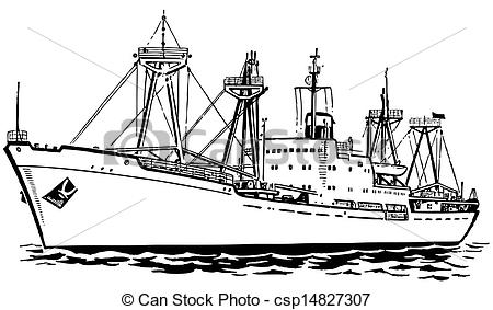 Vector Clipart of Transport ship at sea csp14827307.