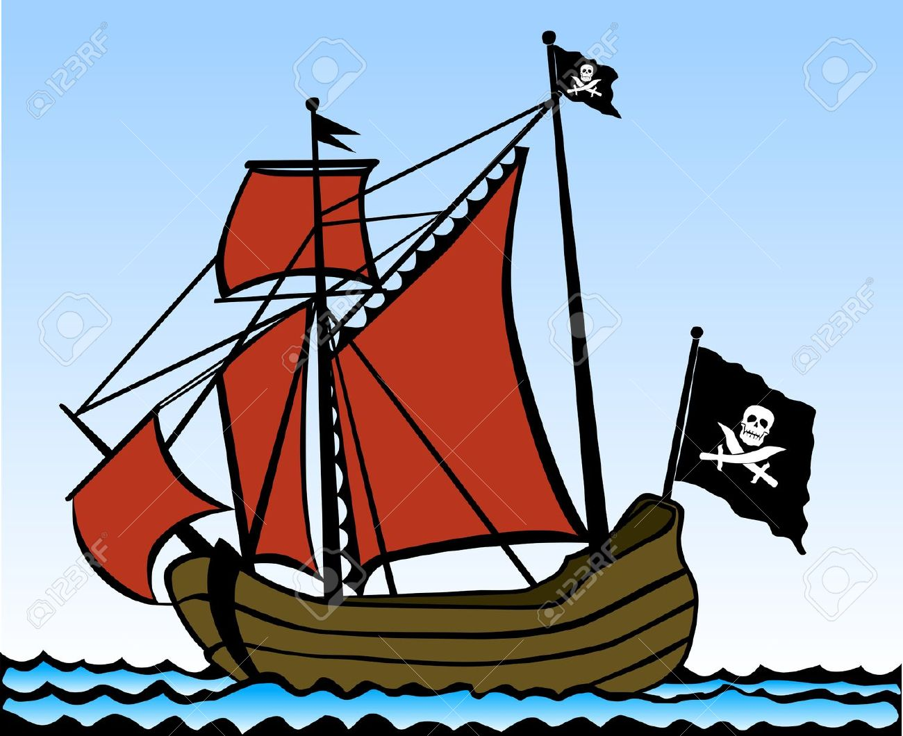 Two Masted Pirate Ship. Vector Illustration Royalty Free Cliparts.