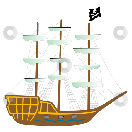 Pirate ship isolated on white stock vector.