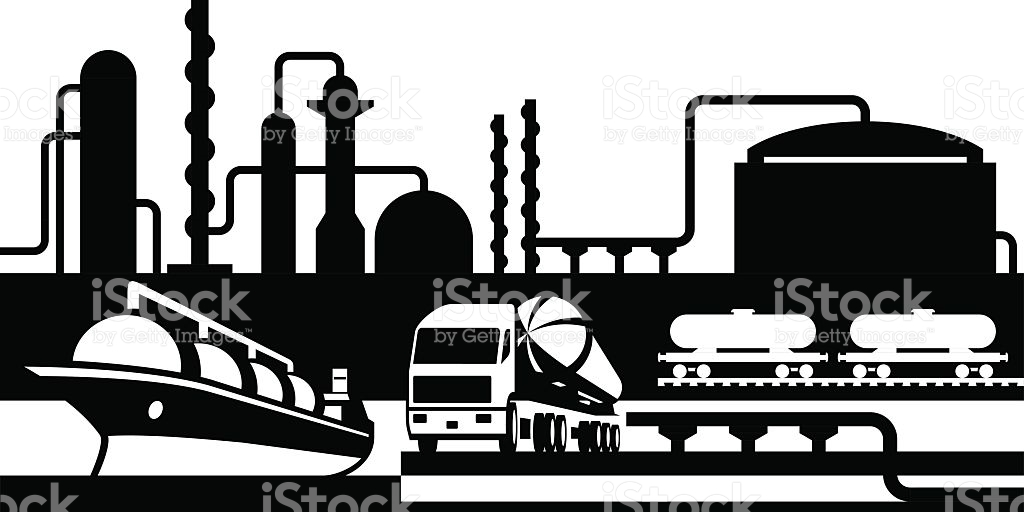 Processing And Transportation Of Oil And Gas stock vector art.