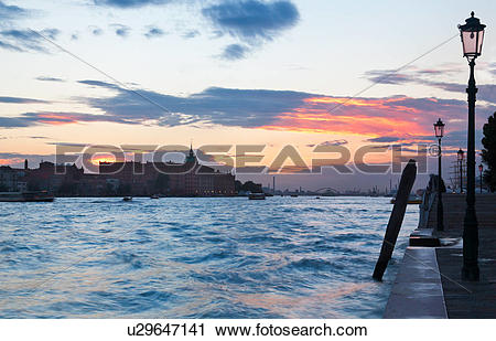 Stock Photography of View of Canale della Giudecca, looking.