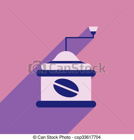 Vector Clipart of flat icon with long shadow coffee mill.
