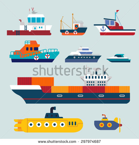 Sea Transport Ship Boat Sail Submarine Stock Vector 220122190.