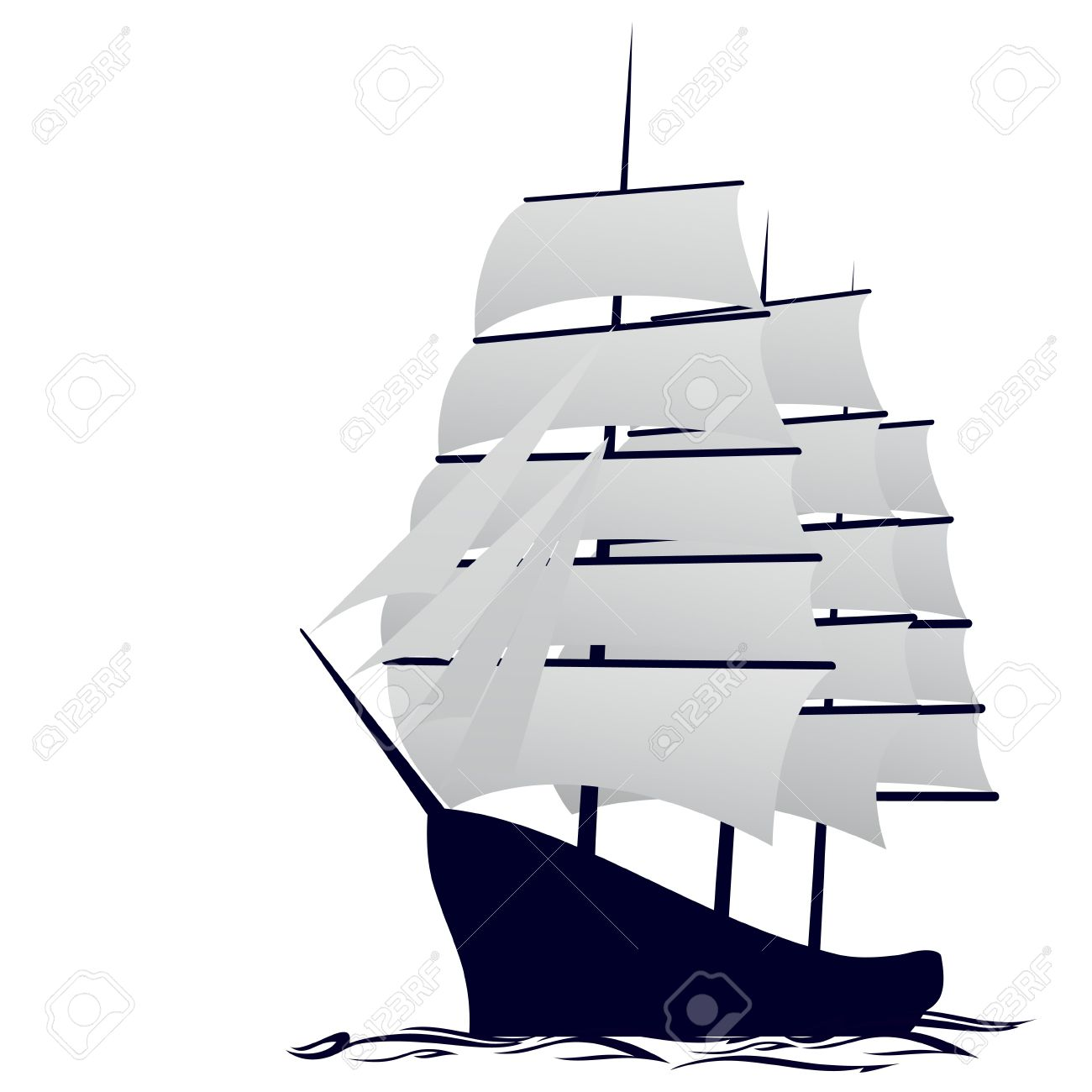 Antiguo barco de vela. Ilustración Sobre Fondo Blanco.