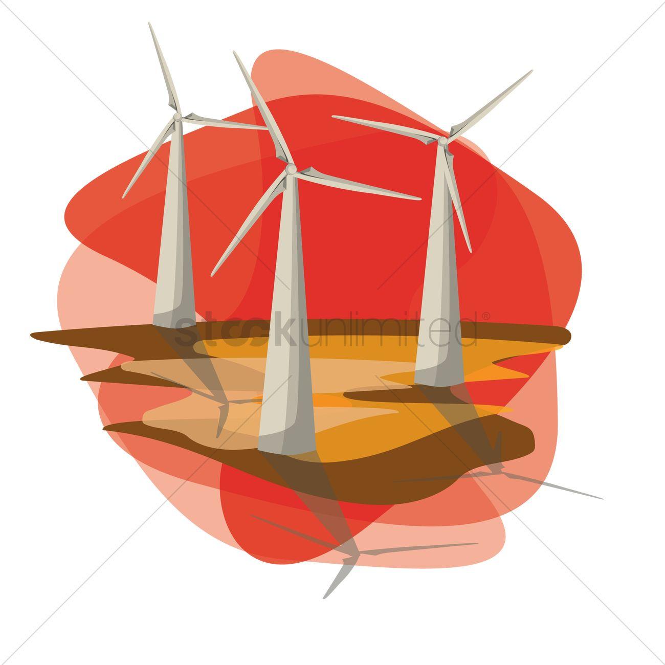 Free Wind mills Vector Image.