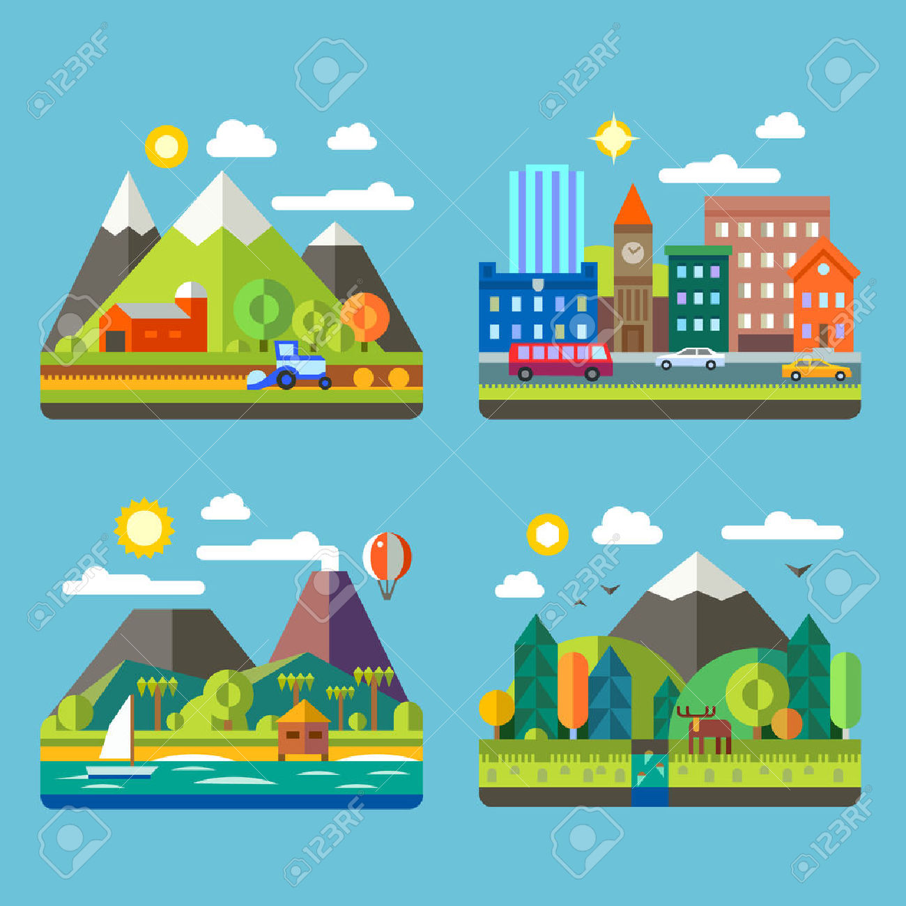 Color Vector Flat Illustrations Urban And Village Landscapes.