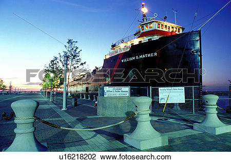Stock Photo of ship, museum, Cleveland, OH, Ohio, Steamship.