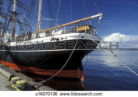 Stock Images of tall ship, San Diego, California, CA, 1863 Star of.