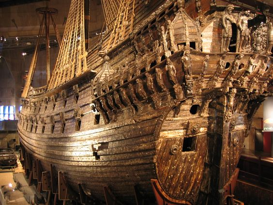 Viking Warship the Vasa, Stockholm, Sweden. Four story ship in.