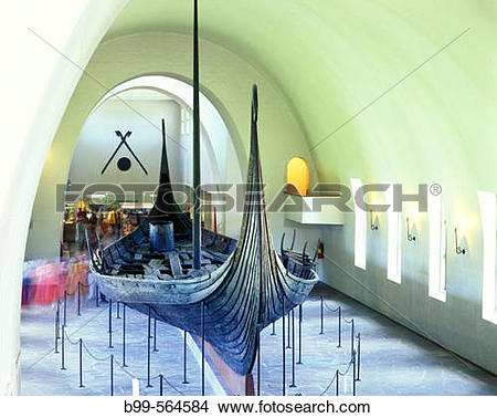 Stock Photo of Oseburg ship, Viking ship museum, Oslo, Norway. b99.