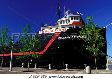 Stock Photograph of ship, museum, Cleveland, OH, Ohio, Steamship.