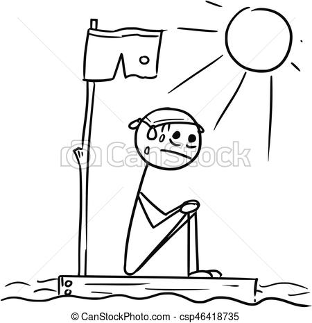 Vector Stick Man Cartoon of Man Sitting Lost on the Wreck Piece of Wood Raft.