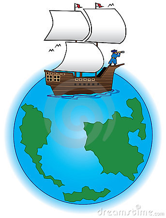 Old Time Sailing Ship Stock Illustrations.