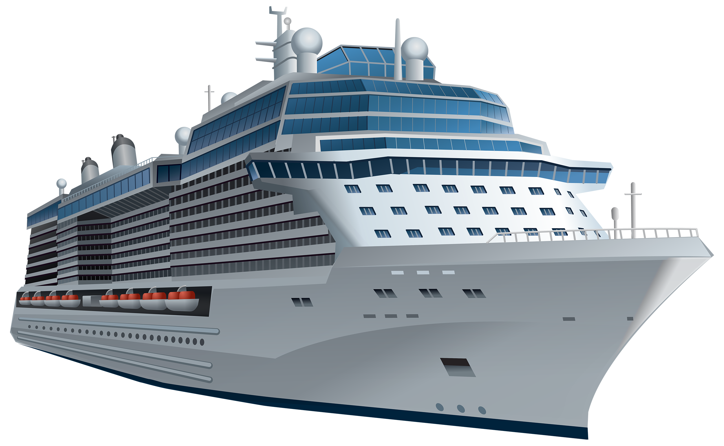 White Cruise Ship PNG Clipart.