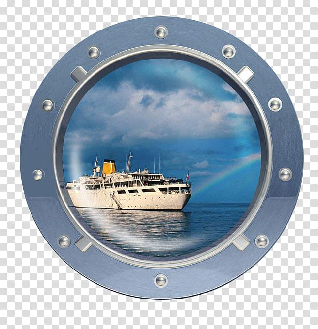Window Wall decal Porthole Sticker, Ship window view.