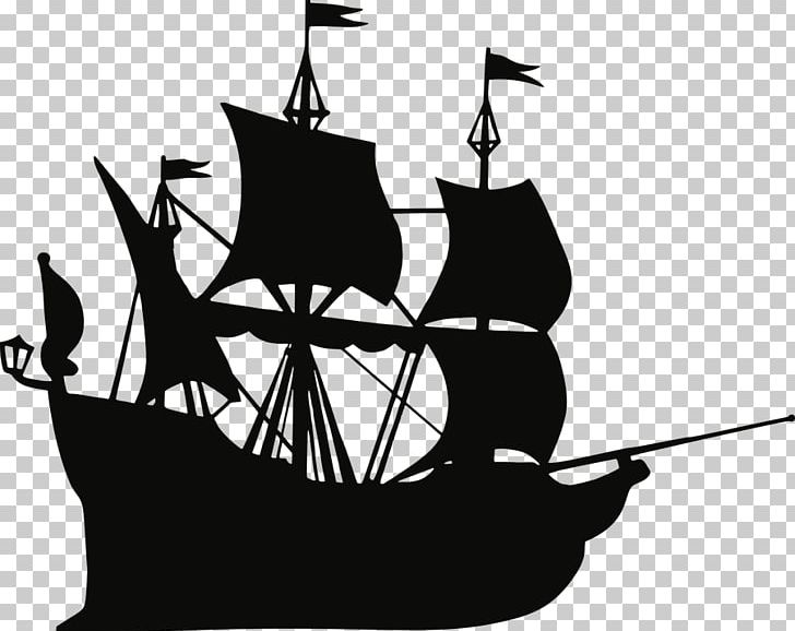 Pirate Ship Silhouette PNG, Clipart, Black And White, Boat.