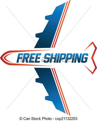 Clipart Vector of Free Shipping air cargo image logo csp21132253.