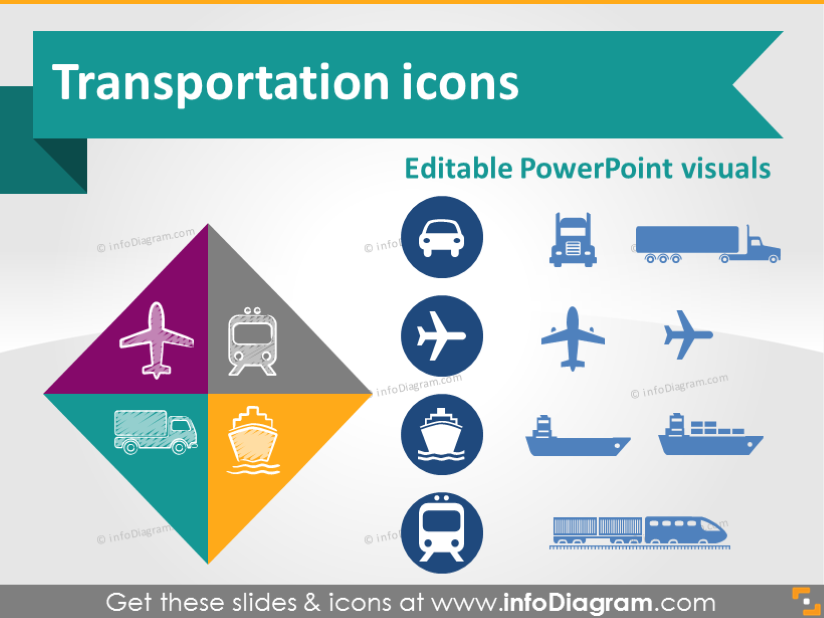 Transport Road Rail Water Ship Air Logistics Icon PowerPoint Clipart.