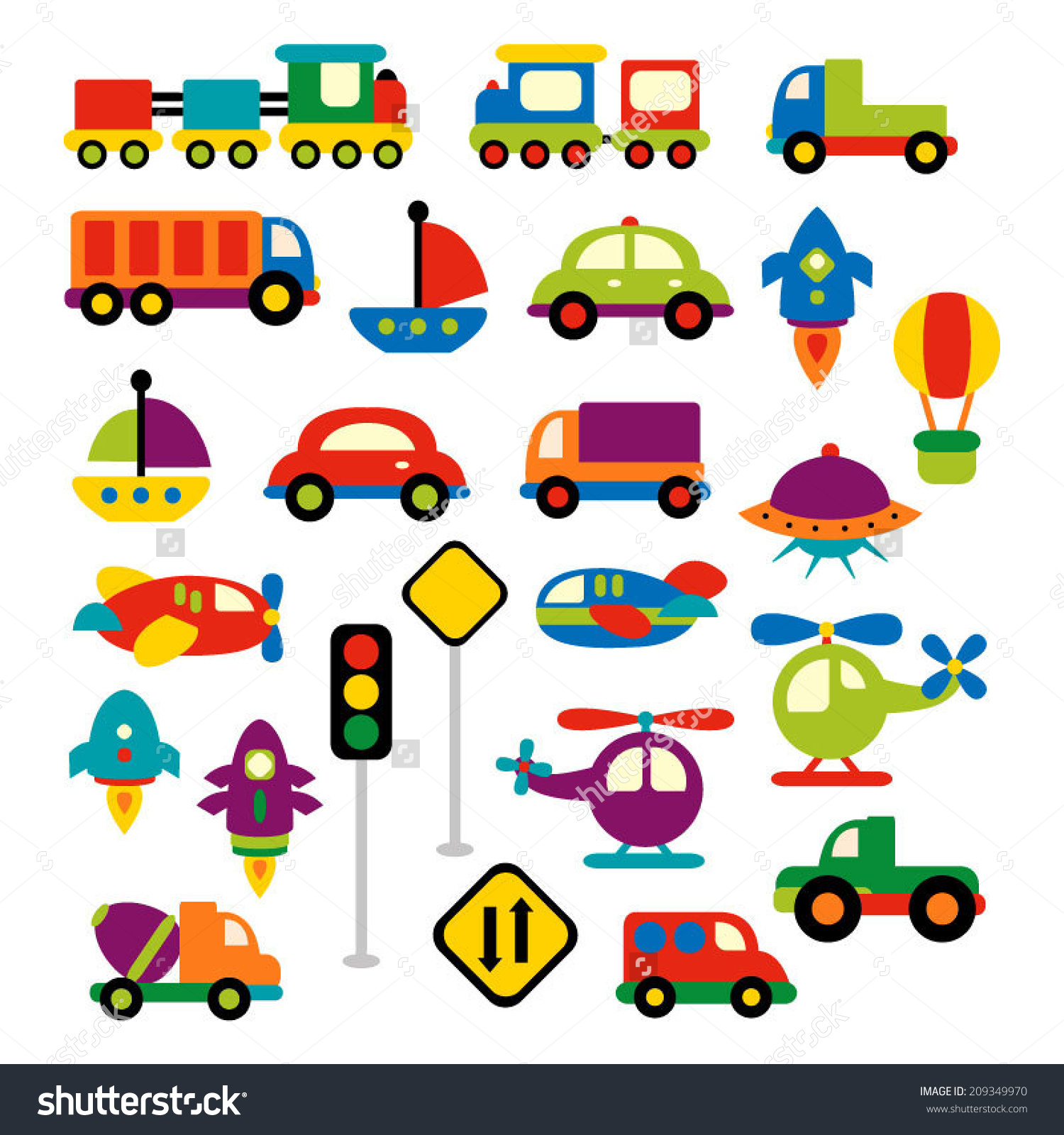 Transportation Vector Clip Art Bright Colors Stock Vector.