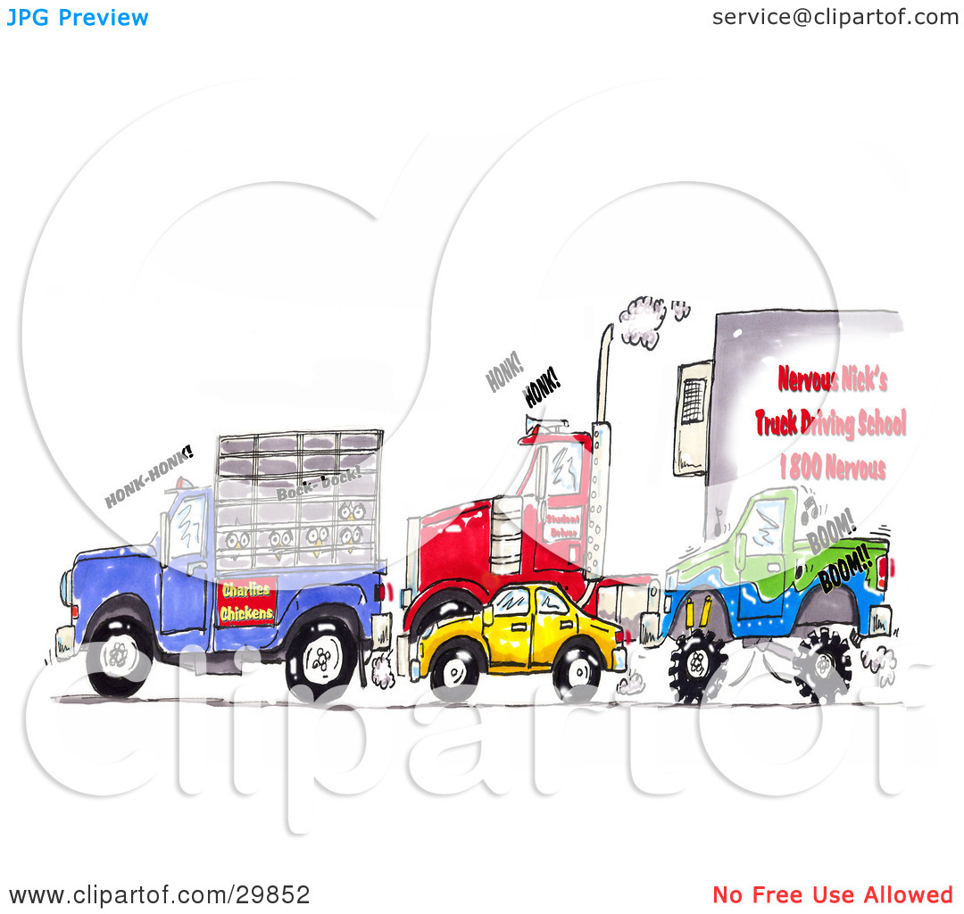 Clipart Illustration of a Traffic Jam Of Animal Transport Trucks.
