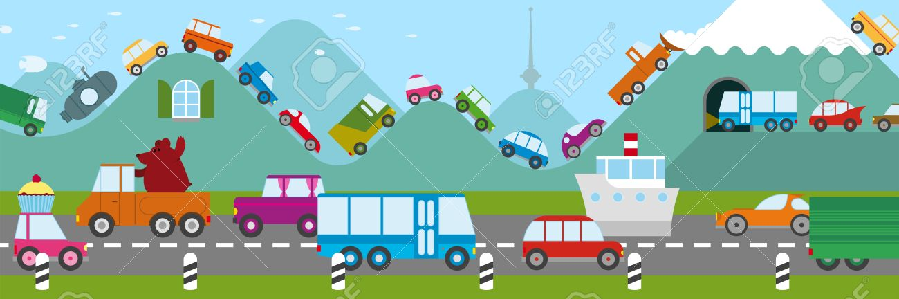 Cartoon Illustration Of A Traffic Jam In A Freeway And Along.