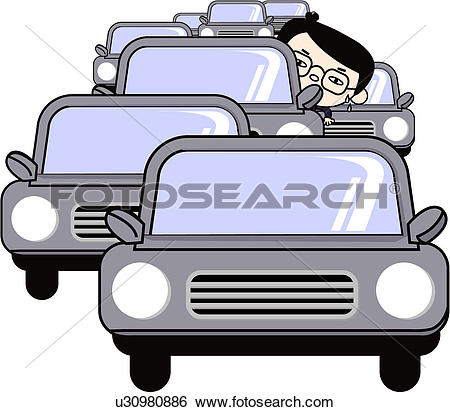 Stock Illustration of people, business suit, eyeglasses, traffic.