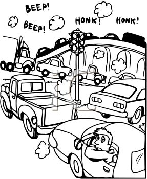 Black and White Cartoon of a Traffic Jam.
