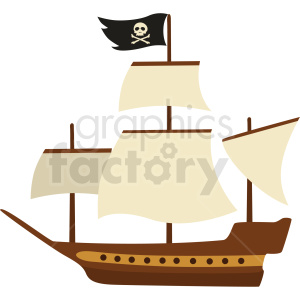 pirate ship vector clipart no background . Royalty.