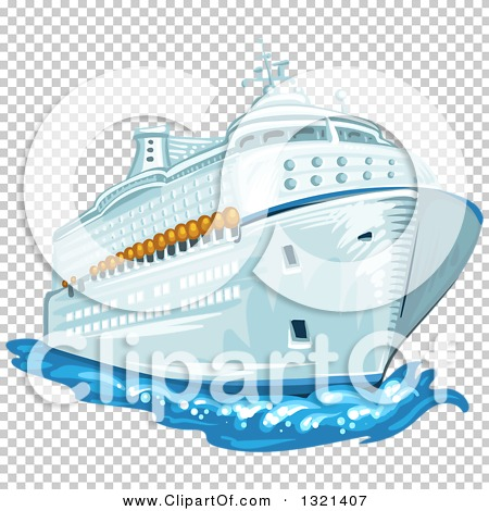 Clipart of a Cruise Ship and Water.