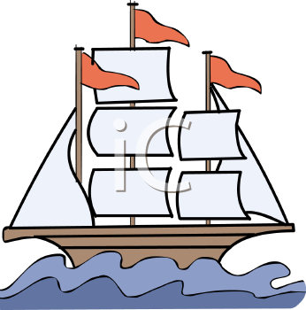 Ship in water clipart.