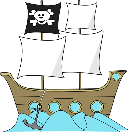 Pirate Ship in the Water Clip Art.